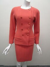 Vintage CHANEL Made in France Salmon Wool Skirt Suit with Logo Buttons Size 38