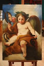 Dipinto olio su tela italiano putto con specchio stile antico 900 opera angelo