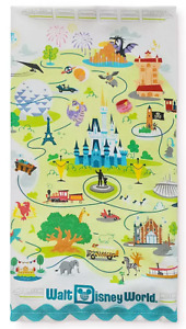 Disney World Parks Map Attractions Icons Kitchen Towel Cinderella Castle - NEW