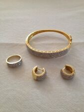 Beautiful paved 14K yellow gold ring size 7, bracelet and earrings