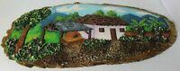 BEAUTIFUL HANDMADE FOLK ART LOG SLAB PAINTING FROM COSTA RICA 2006