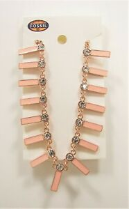 Fossil Brand Blush Pink Enamel Bars Crystal Necklace Rose Gold Tone Metal Chain