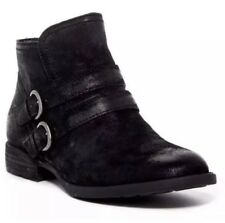 BORN Ankle Boots Womens 10 Pirlo Distressed Black Suede Leather Buckle Moto