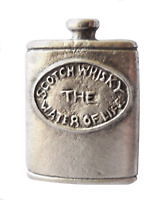 Scotch Whisky Hip Flask Pewter Pin Badge