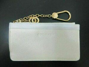Authentic Excellent BVLGARI Coin Purse White Leather With Box 90500 B