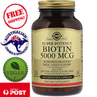 Solgar, Biotin, 5000 mcg, 100 Vegan Capsules - Healthy Skin, Nails & Hair*