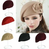 Women Hat French Pillbox Cap Beret Warm Ladies Wool Felt Soft Winter Beanie