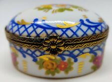Meissen Antique Snuff Trinket Oval Shaped Box Hand Painted 1924-1934