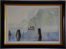 Original Watercolour Painting - Foggy day, Lake Garda