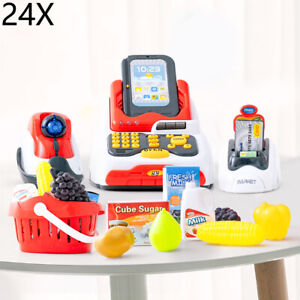 Kids Electronic Cash Register Toy Working Scan Till Play Food Shopping Game Set