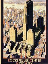 POST CARD OF VINTAGE POSTER FOR ROCKEFELLER CENTER IN NEW YORK CITY