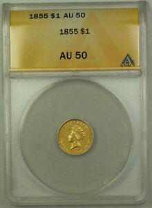 1855 Indian Princess Head Gold Dollar $1 Type II ANACS AU-50