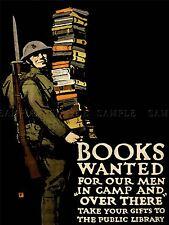 Guerra di propaganda carità LIBRO SOLDATO FUCILE PISTOLA Libreria Arte Poster Stampa lv7208