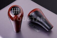 US Seller 6 Speed Gear Knob for BMW1 3 5 Ser GENUINE LEATHER & BURL WOOD Effect