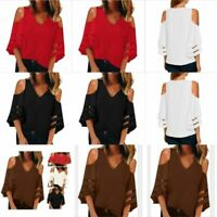 New Blouse Tops Womens Top Casual Fashion Jumper V Neck Elegant Floral Pullover