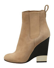 $1195 Givenchy Beige Metaltip Ankle Booties Wedge Gored Slip On Boots 35.5- 5.5
