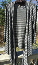 Fenn Wright Manson ~ Open Cardigan ~ Long ~ Striped ~ Draping  ~ Gray & Silver ~