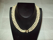 "TRIPLE STRAND,VINTAGE,CULTURED PEARL,NECKLACE 15"" 14KCLASP APPRAISE$1600 $200"
