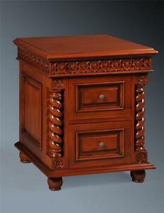 Solid Mahogany Pillars Period Jacobean Bed Side Table Side Tables Cabinet Chest