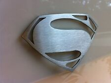 MAN OF STEEL ~ SUPERMAN EMBLEM STAINLESS STEEL MIRROR LIKE FINISH NEW FREE SHIP!