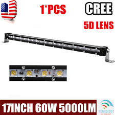 Slim 17inch 60W CREE LED Light Bar Single Row Offroad 4WD Jeep Truck 5D Optical