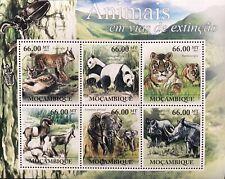 MOZAMBIQUE ENDANGERED SPECIES STAMPS SHEET 2011 MNH WILD ANIMALS PANDA ELEPHANT