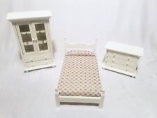 Dollhouse Furniture Bedroom Set Twin Bed, Dresser and Cabinet