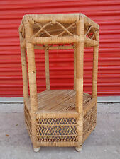 Vintage 6 Sided Rattan Wicker Bamboo Woven Weave Accent End Table Palm Beach MCM