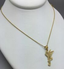 STERLING SILVER GOLD PLATED DISNEY TINKERBELL NECKLACE!