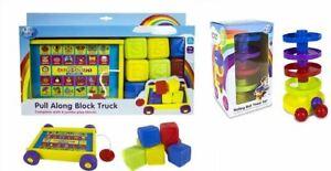 NEW CHILDREN PULL ALONG BLOCK TRUCK BABY'S PLAY BLOCKS ROLLING BALL TOWER SET