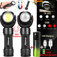 Rechargeable T6 + COB LED Flashlight 360° Rotating Torch Magnet Work Light Camp