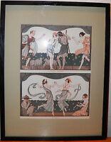 """Art Deco Nouveau Print Framed La Vie Parisienne by Kuhn-Regnier 1923 13x17"""" rare"""