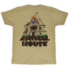 Animal House T-Shirt Delta House Flag Flyer Khaki Heather Tee, Sm