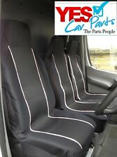 FIAT DUCATO 2007 DELUXE WHITE PIPING VAN SEAT COVERS 2+1