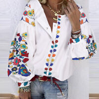 ZANZEA Women Button Up Printed Floral Top Tee Plus Size Shirt Long Sleeve Blouse