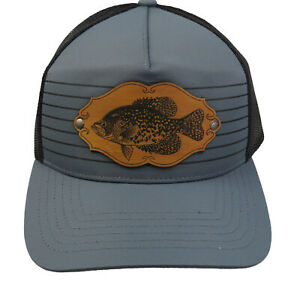 Vintage Heddon Crappie Leather Patch Truckers Snap Back Mesh Cap Fishing Fish