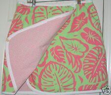 """James Gunn M reversible wrap pink green tropical floral cotton skirt 32""""waist XC"""