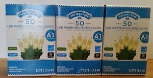 Holiday Time 50 LED Warm White Mini Lights  ~ Lot of 3 ~ Christmas  green wire