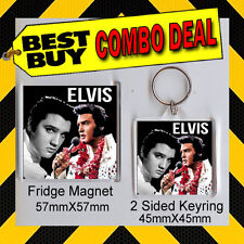 ELVIS PRESLEY TRIBUTE FRIDGE MAGNET AND KEYRING