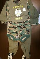 BOYS INFANT TINY TROOPER FUTURE MARINE SIZE 6-9 MONTHS 3 PIECE BODYSUIT SET NWT