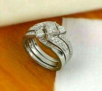 Engagement Wedding Bridal Trio Ring Set 3 Ct Princess Cut Diamond 14k White Gold