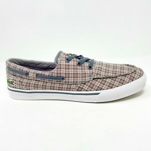 Lacoste Keel Canvas Dark Red Gray Loafer Boat Casual Shoes