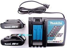 (2) NEW 18V GENUINE BL1820B-2 2.0 AH Makita Batteries, 1) DC18RC Charger 18 Volt