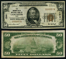 Lancaster OH $50 1929 T-1 National Bank Note Ch #1241 Hocking Valley NB VF