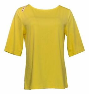 Susan Graver Women's Top Sz S Bateau Neck Yellow A215099