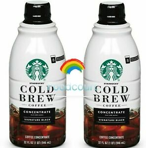 2 Bottles Starbucks Cold Brew Coffee Signature Black Concentrate  32 fl oz Each