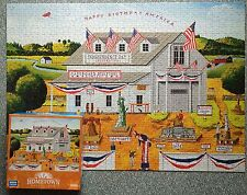 Jigsaw Puzzle Art Poulin 1000 Hometown July 4th Grange Hall COMPLETE HTF vb