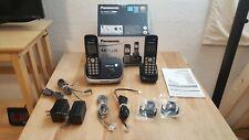 Panasonic DECT 6.0 Plus KX-TG6512 Digital Cordless Phone Two Handsets Black