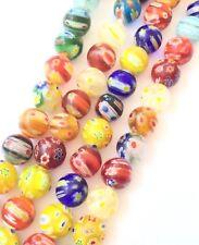 10mm Round Glass mix Millefiori Beads- Jewelry Supplies