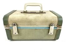 Vintage Gateway Luggage Train Hard Case Green Vinyl Floral Lined W Handle